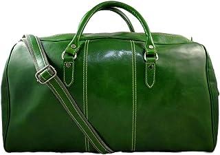 Duffle Bag Genuine Leather Green Shoulder Bag Travel Gym Bag Luggage Duffle