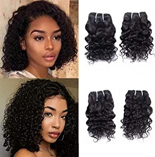 Brazilian Virgin Human Hair 4 Bundles Water Wave Weave Unprocessed Remy Hair Extensions Wet And Wavy Cheap 8A Grade Natural Black Color 12 Inch 50g/Bundle