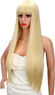 Kalyss 28 Inches Women's Long Straight Premium Yaki Synthetic Blonde Full Hair Wig with Hair Bangs