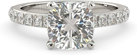 2.50 dwt Cushion Cut Charles & Colvard Forever One Moissanite & Round Cut Natural Diamond Engagement Ring Solitaire Custom 14k White Gold Size 4-10
