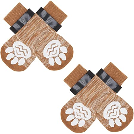 TAILGOO Anti-Slip Dog Socks 2 Pairs - Pet Paw Protector Traction Control for Small Medium Large Doggies Puppies Indoor Active, Soft and Comfortable