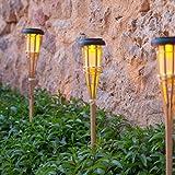 Lights4fun 4er Set LED Solar Bambus Gartenfackeln 58cm