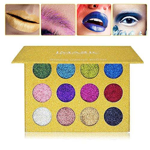 Paleta de sombra de ojos brillo, 12 colores Maquillaje profesional de larga...