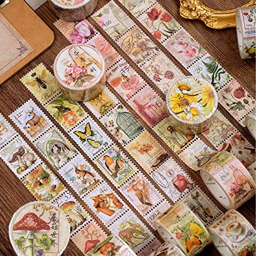 3 Rollen Vintage Aufkleber Stempel Scrapbooking Aufkleber für Scrapbook Kalender Notizbuch Tagebuch Fotoalbum DIY Dekoration, 2.5cm x 5m, Pflanzen Sie Blumen und Vögel