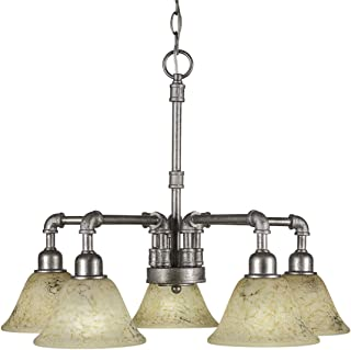 5-Light Chandelier with 7 in. Italian Marble Glass Shade