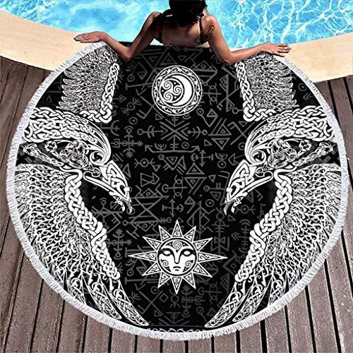 MINNOMO Vikingo Odin Dos cuervos Soles Luna Celta Impresión Nudos Toalla de playa redonda con borlas Abstracto Microfibra Yoga Blanco 150 cm