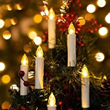 OSALADI 1 مجموعة شموع LED الكهربائية بدون لهب ، تعمل بالبطارية كليب على أضواء شجرة عيد الميلاد التحكم عن بعد شموع لديكور ا...