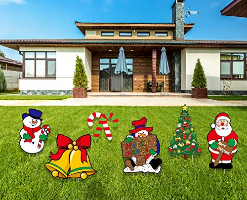 ANBER Christmas Decorations Outdoor 6 Pieces Santa Claus Snowman Yard Signs with Stakes Decorations Xmas Holiday Party Lawn Yard Ornaments