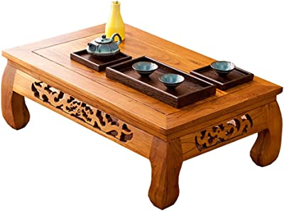 Elm Small Table Side Table Study Table Office Reception Desk Tatami Tea Table Indoor Living Room Coffee Table (Color : BrownC, Size : 60 * 40 * 25cm)
