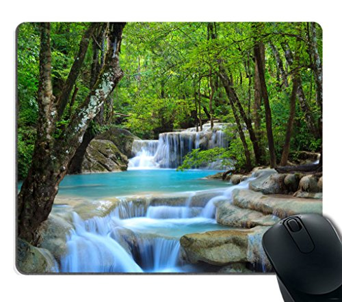 Smooffly Gaming Mouse Pad Custom,Waterfalls Forest Creek Landscape Trees Waterfall Stones Non-Slip Thick Rubber Mouse pad,9.5 X 7.9 Inch (240mmX200mmX3mm)