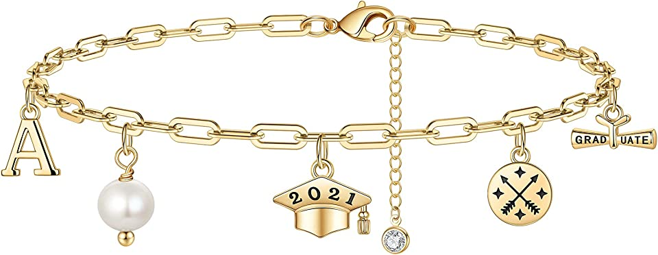 Graduation Gifts Ankle Bracelet, 14K Gold Plated Graduation Anklet Compass 2021 Granduation Anklet for Women Pearl Initial Ankle Bracelet College High School Graduation Gifts for Her 2021