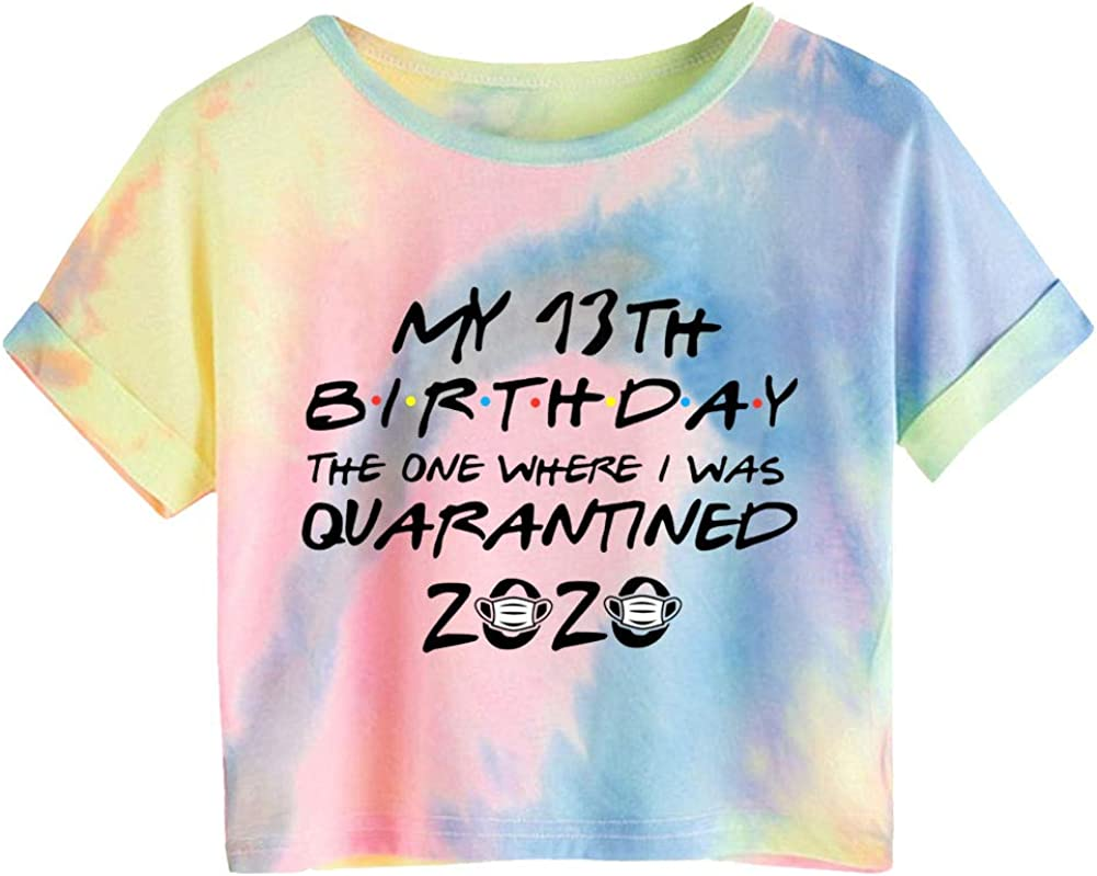 KKSH Birthday-Quarantine Tie-Dye Printed Womens Short T-shirt Top-July