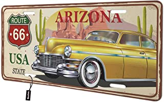 Beabes Arizona Route 66 USA State Front License Plate Cover,Retro Vintage Car Cactus Decorative License Plates for Car,Aluminum Novelty Auto Car Tag Vanity Plates Gift for Men Women 6x12 Inch