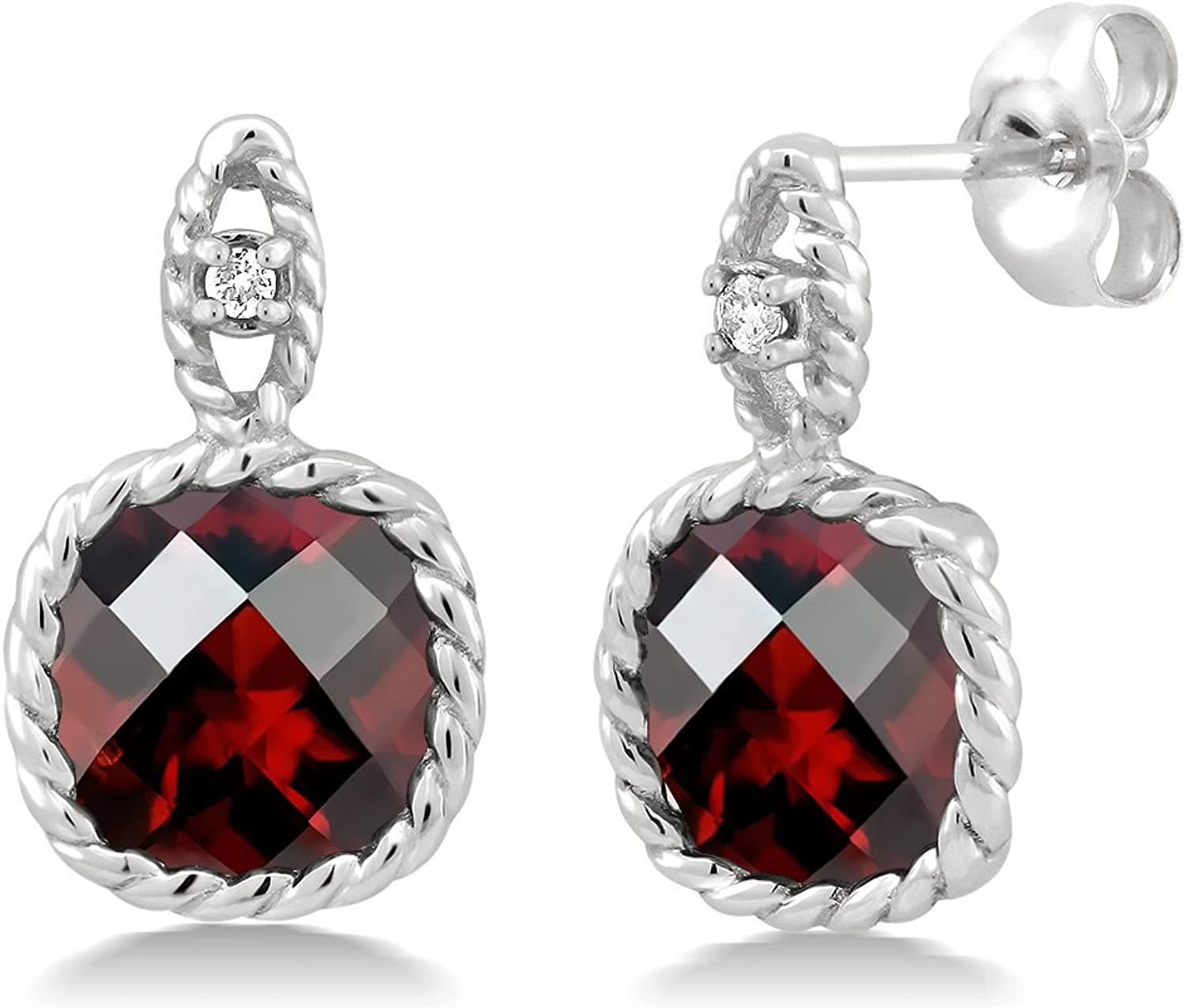 10K White gold 4.80 Ct 8mm Cushion Checkerboard Garnet & Diamond Cable Earrings