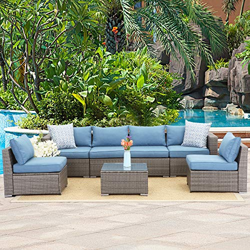 Wisteria Lane Outdoor Furniture Set, 7 PCS Patio Sectional Sofa with Glass Table, Wicker Seating for Deck Balcony - Upgrade Blue Cushion