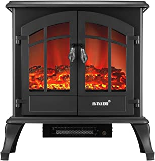 22-inch Portable Freestanding Electric Fireplace Stove,2 Heat Setting,1800W or 900W Heater Thermostat 3D Flame Effect