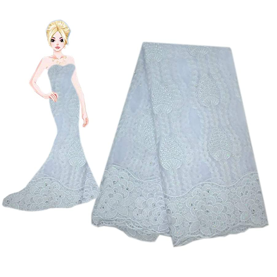 KENLACE Newest French Nigerian Laces Fabrics Tulle African Laces Fabric Wedding African French Tulle Lace (White)