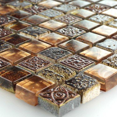 Glas Marmor Mosaik Fliesen Braun Gold Glasmosaik 15x15x8mm Marmorglas
