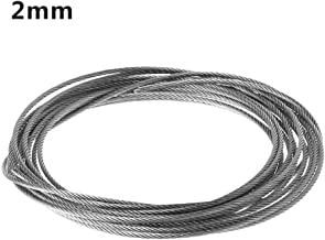 Chuiouy 5M Aircraft Steel Wire Rope Cable Stainless Steel Soft Fishing Lifting Traction Clothesline Cable 1×7 Structure 2MM Diameter