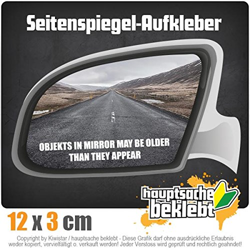 Kiwistar Objects in Mirror Older Appear 12 x 2 cm IN 15 Farben - Neon + Chrom! Sticker Aufkleber