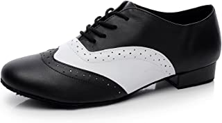 "Minishion QJ9011 Mens 1"" Heel Leather Modern Salsa Tango Ballroom Latin Dance Shoes"