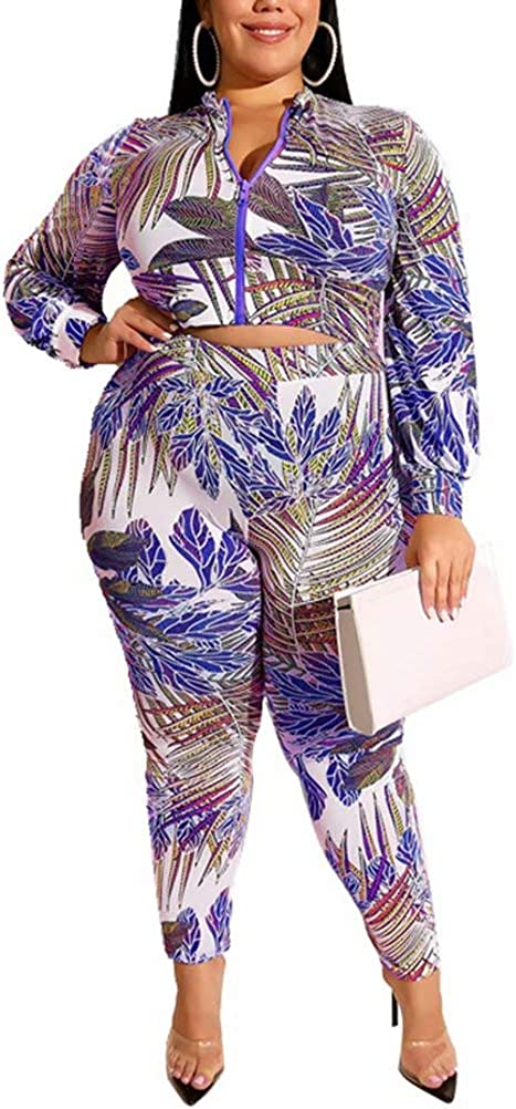 Women Two Piece Outfits Floral Jackets Coat Skinny Leggings Pants Tracksuits Set Jumpsuit Beach Party Wear