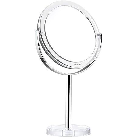 Auxmir Miroir Maquillage Grossissant x10 / x1 Pivote à Deux Côtés, Miroir de Table Rotation à 360°, Miroir Coméstique Double Face avec Support, Style Rétro Bord Transparent