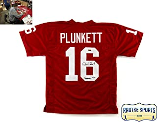 Jim Plunkett Autographed/Signed Stanford Custom Jersey With