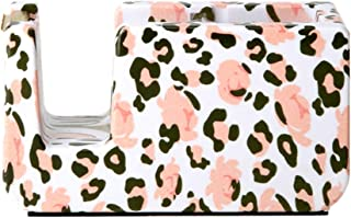 Leopard Print Tape Dispenser Desk Gold Glitter Saw Blade Adhesive Tapes Holder 1IN Core Refill Roll Cutter with Non-Slip Base for School Office Home Supplies
