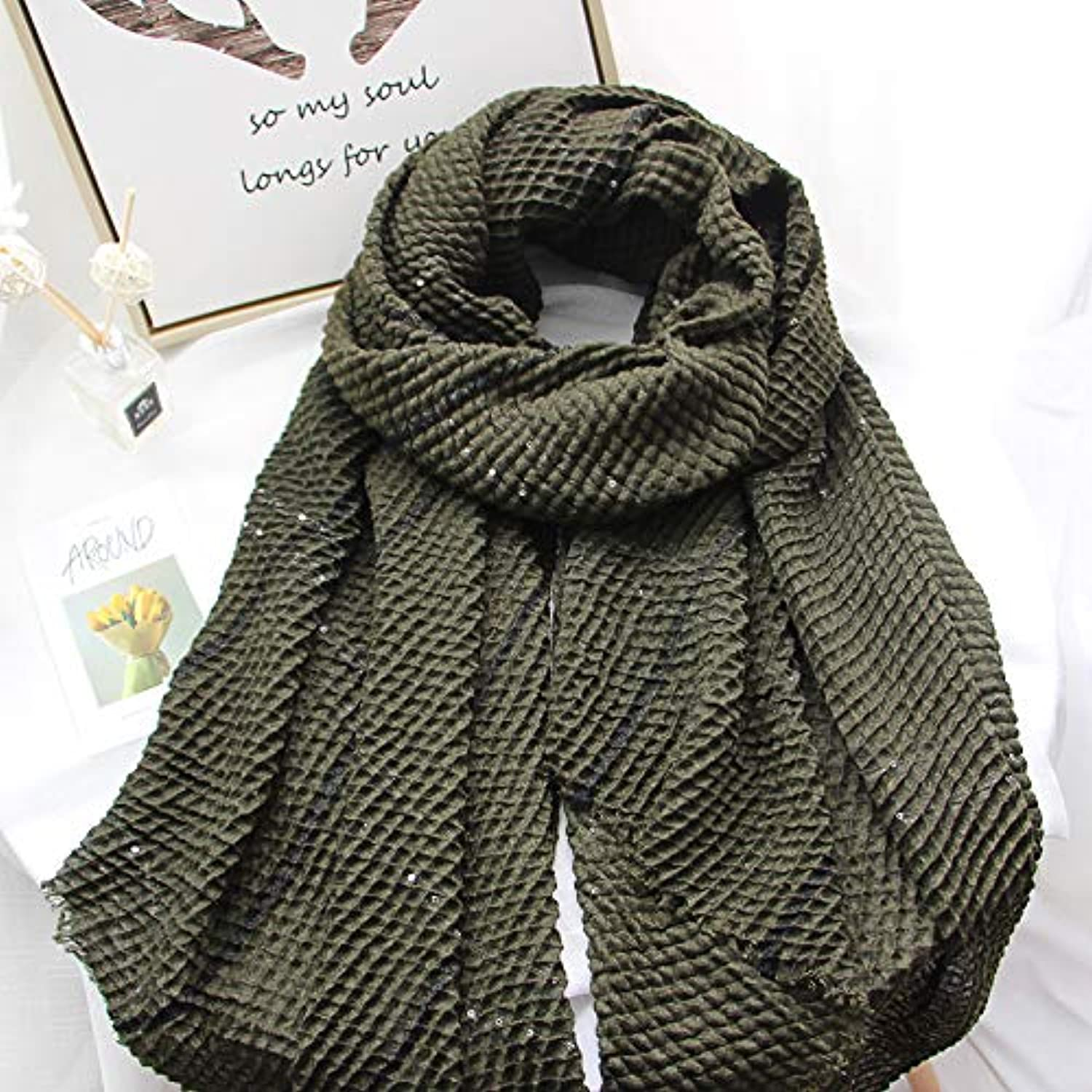 JINGB Home Scarf Female Spring and Autumn Sequins Pleated Elastic MultiPurpose Dualuse Large Shawl Wild Fashion Small Fresh (color   Green)