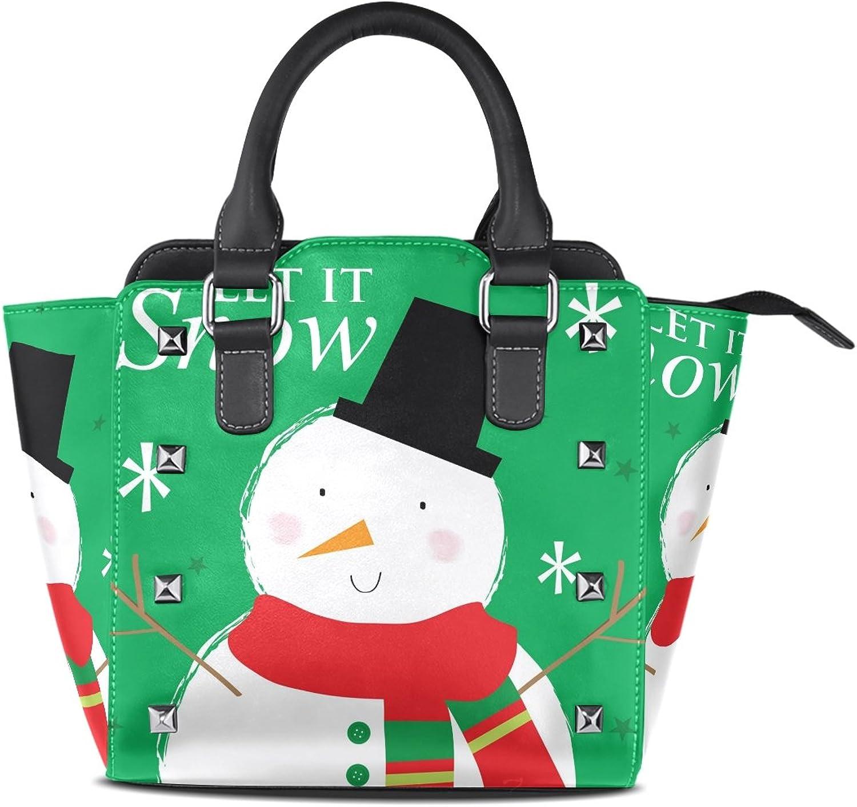 My Little Nest Women's Top Handle Satchel Handbag Winter Cute Snowman Ladies PU Leather Shoulder Bag Crossbody Bag