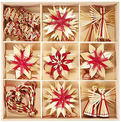 HEITMANN DECO Weihnachtsbaumschmuck aus Stroh - Stroh Baumbehang mit roten Akzenten - 25-teiliges Set - Christbaum Anhänger aus natürlichem Material
