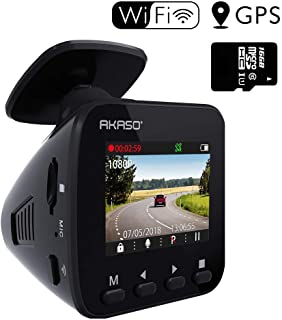 "Máy thâu hình đặt trên xe ô tô – Dash Cam WiFi Car Camera – AKASO V1 Dash Camera for Cars 1296P with Phone APP GPS 16GB Memory Card 1.5"" LCD 170° Wide Angle Super Night Vision Built-in G-Sensor Parking Monitor Loop Recording"