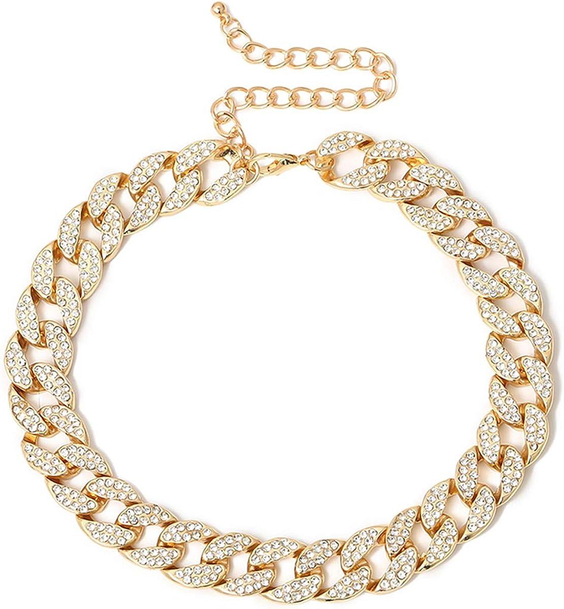 Ingemark Shiny CZ Rhinestone Curb Cuban Link Chain Choker for Women Unisex Cool Hip Hop Miami Cuban Diamond-Cut Chain Choker Necklace