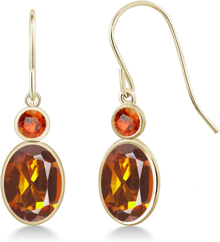 2.46 Ct Oval orange Red Madeira Citrine orange Sapphire 14K Yellow gold Earrings