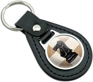 Black Knight Chess Set Black Leather Metal Keychain Key Ring