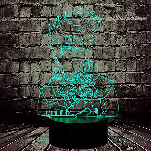 Naruto Light Hatake Kakashi Sasuke Cartoon Night Lamp 3D Ilusión Óptica Japonés Anime Theme 7 Color USB Cambio Manga LED Lámpara de mesa Flash Bombilla de estado de ánimo Lava