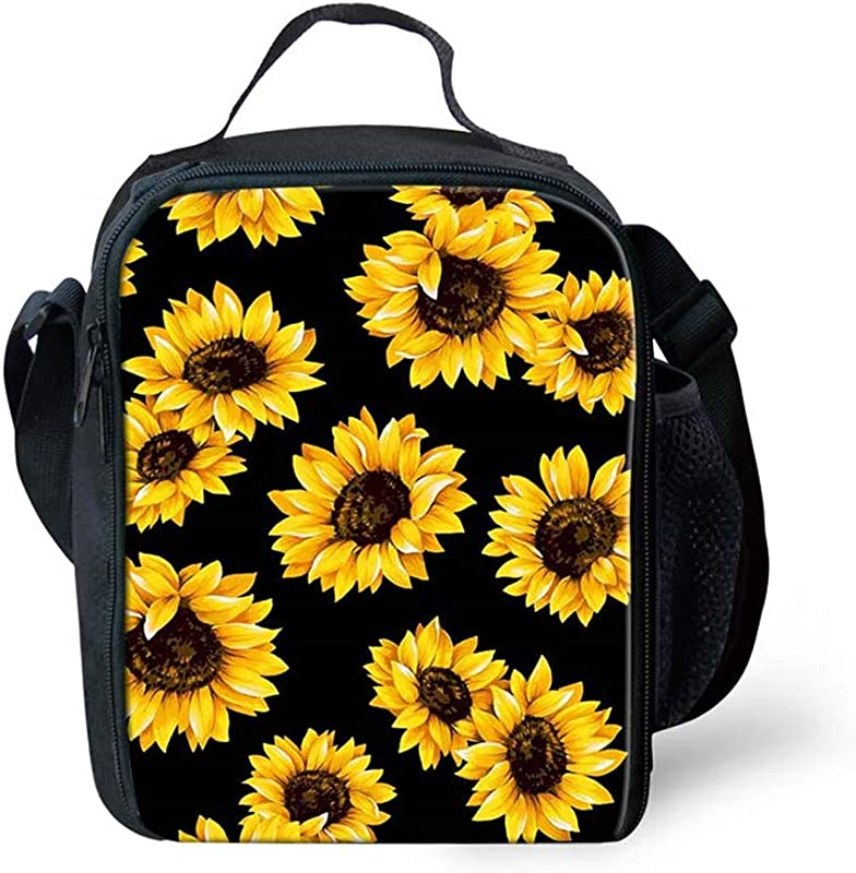 FANCOSAN Spring Sunflowers Retro Flowers Lunch Bag Boxes Tote Insulated Reusable Tropical Lunch Bag Lunchbox Durable Zipper Hangbag Portable For Adult Men Women