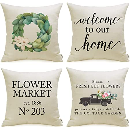 Throw Pillows 16x16 Spring Summer Fall Winter Decoration Farmhouse Home Decor Reusable Interchangeable Bedroom Living Room Accents Pillowcase Cover Country Rustic House Pillow Insert