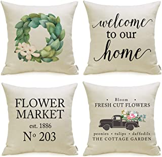 """Sponsored Ad - Spring Decorations Spring Pillow Covers Set of 4 with Farmhouse Flower Market Welcome Quote 18"""" x 18"""" for S..."""