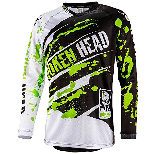 Broken Head MX Jersey Green Thunder - Langarm Funktions-Shirt Für Moto-Cross, BMX, Mountain Bike, Offroad - Grün - Größe L