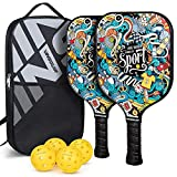 Vinsguir Pickleball Paddles Rackets Set, Graphite Pickleball Paddle Set of 2 Rackets and 4 Pickleballs Balls, Pickleball Paddle Ball Sets, Pickle-Ball Racquet with Portable Bag for Men and Women