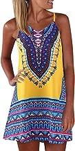 Aniywn Women's Spaghetti Straps Dress Bohemian Printed Min Dress Ladies Sleeveless A-Line Maxi Mini Sundress