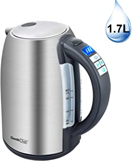 Electric Kettle 1.7Liter Temperature Control #304 Stainless Steel Tea Kettle, Hot Water Boiler with LED Indicator, Auto Shut-Off, Fast Boiling 60 Minutes Keep Warm, BPA-Free