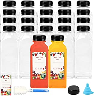 22 قطعة من زجاجات العصير 12 أوقية عبوات شفافة للاستعمال مرة واحدة للعصيرة والحليب والمشروبات الأخرى
