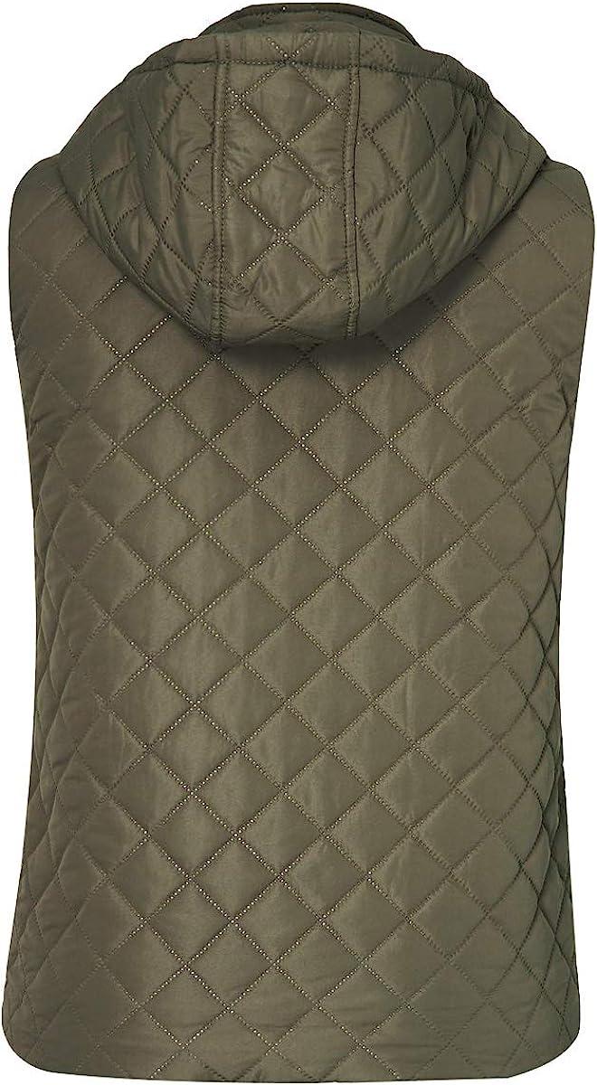 Idgreatim Women Lightweight Quilted Padded Vest Stand Collar Zip Gilet Sleeveless Jackets