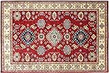 Alfombra afgana Kazak fina, 180 x 250 cm, hecha a mano, color rojo