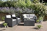 Allibert 220025 Lounge Set Monaco mit Kissenbox-Tisch 2x Sessel und 1x Sofa, Rattanoptik, Kunststoff, graphit - 6