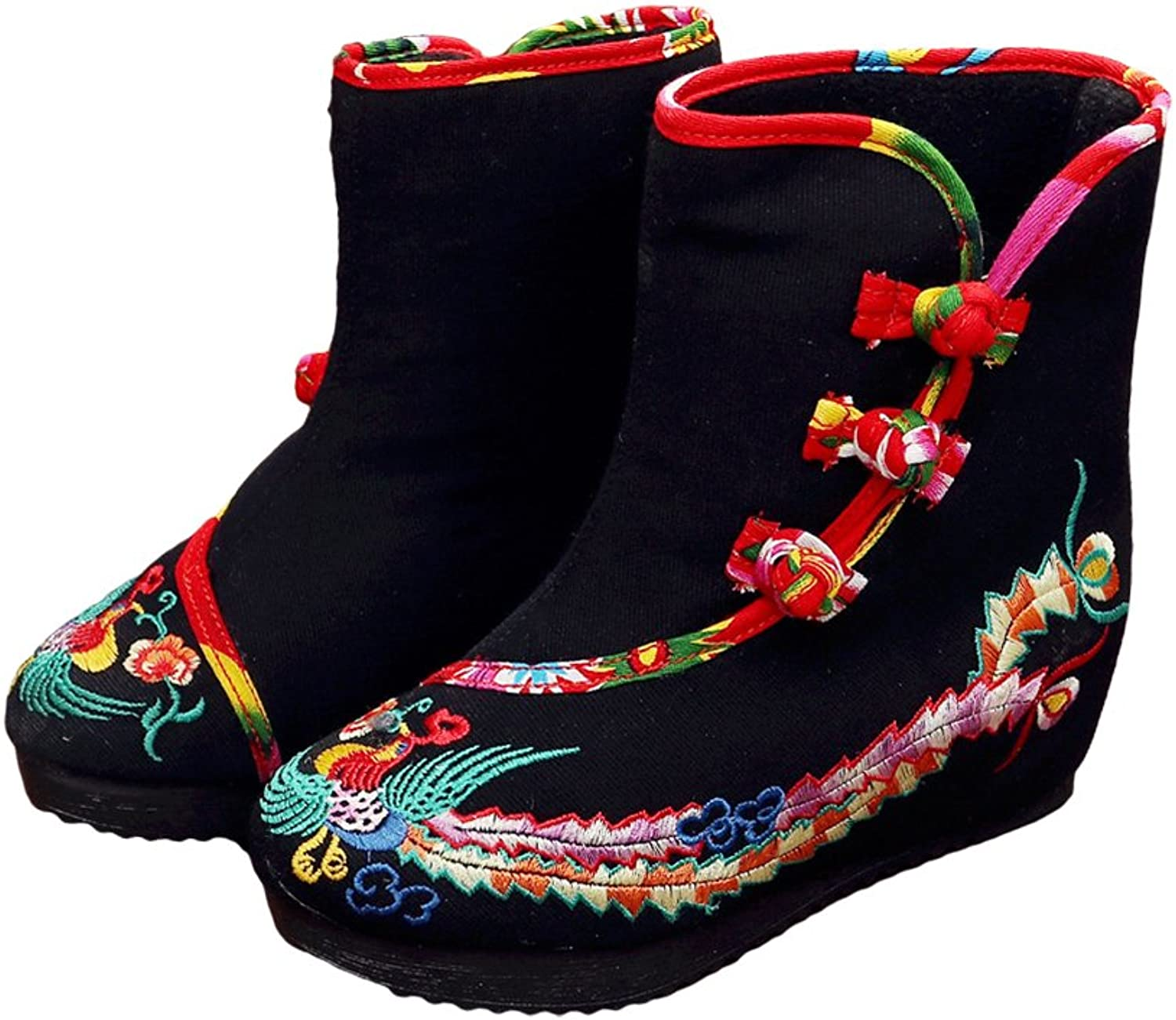 AvaCostume Womens Phoenix Embroidery Wedge Heel Platform Ankle Booties