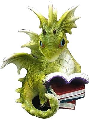 Nemesis Now Tales Green Dragon Reading Figurine, Polyresin, One Size